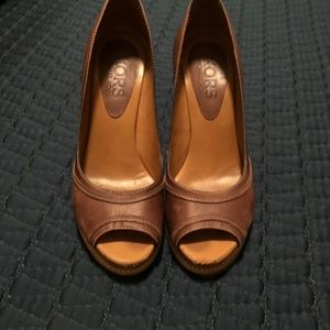 KORS Michael Kors Shoes - Kors by Michael Kors Leather Peep Toe Wedges